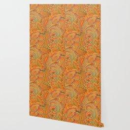 peach paisley Wallpaper