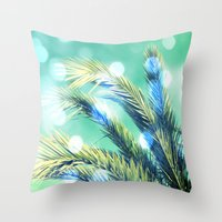 palm Throw Pillows featuring palm by laika in cosmos