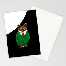 Owl in suit Stationery Cards