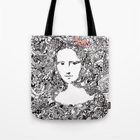 mona lisa Tote Bags featuring Mona Lisa by Gribouilliz