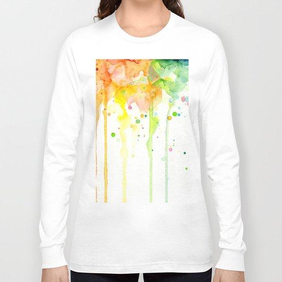 Rainbow Watercolor Pattern Texture Long Sleeve T-shirt