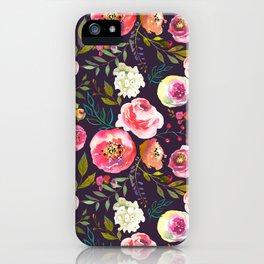 Floral watercolor chalk print pink peonies iPhone Case