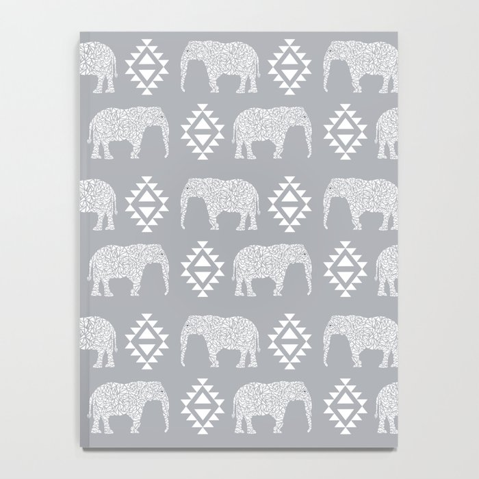 Elephant geometric southwest modern monochromatic grey children kids nature safari pattern  Notebook