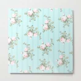 Shabby chic roses pink and mint Metal Print