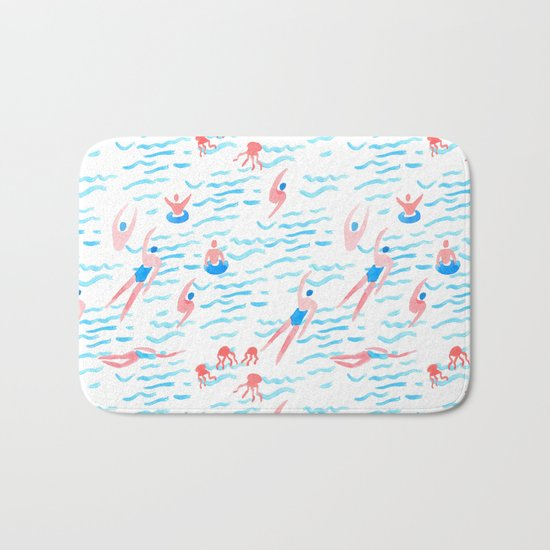 swimmers in the sea pattern Bath Mat