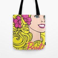 barbie Tote Bags featuring Blonde Barbie by LuxuryLivingNYC