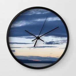 Vermont evening  sky over lake champlain  I Wall Clock