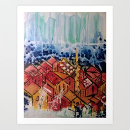 Rooftops and Mountans Art Print