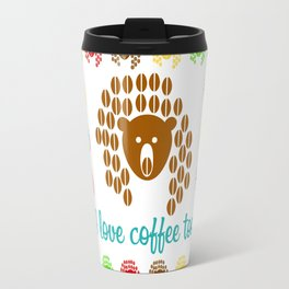 An image of a bear from coffee beans on the background of a pattern with the inscription Travel Mug