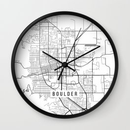 Boulder Map, USA - Black and White Wall Clock