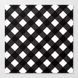 Contemporary Black & White Tilt Gingham Pattern - Mix & Match With Simplicty Of Life Canvas Print