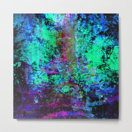 Pretty Blue and Purple Abstract Grunge Abalone Pattern Metal Print
