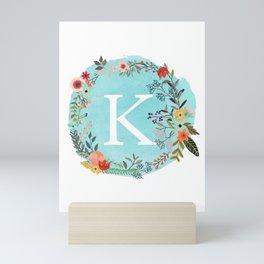Personalized Monogram Initial Letter K Blue Watercolor Flower Wreath Artwork Mini Art Print