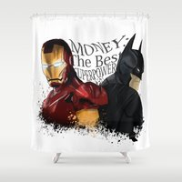 punisher Shower Curtains featuring Money: the best superpower by Vickn