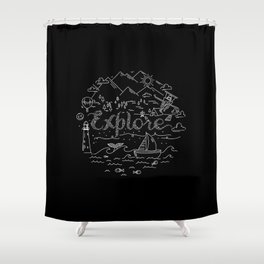 Explore(Black) Shower Curtain