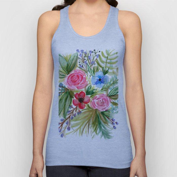 Watercolor Floral Bouquet No. 1 Unisex Tank Top