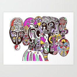 Tao of immortality (chinese cubism illustration) Art Print