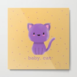Cute Baby cat | purple cats | kids Kitty Metal Print