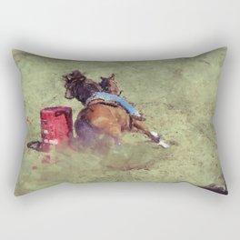The Barrel Racer - Rodeo Horse and Rider Rectangular Pillow