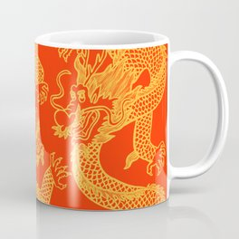 Red and Gold Battling Dragons Coffee Mug