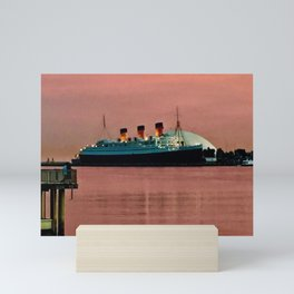 The Queen Mary at Dusk Mini Art Print
