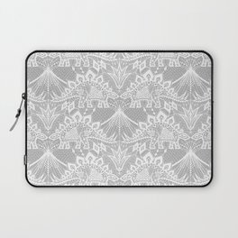 Stegosaurus Lace - White / Silver Laptop Sleeve