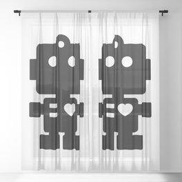 Cute Robot Sheer Curtain