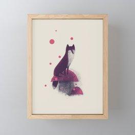 Little Fox and Mushrooms Framed Mini Art Print