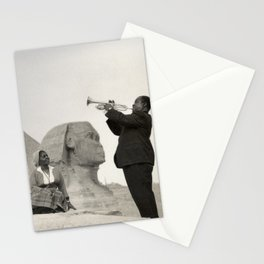 Louis Armstrong at the Spinx and Egyptian Pyrimids Vintage black and white photography / photographs Stationery Cards