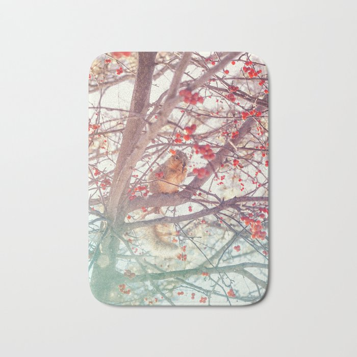 Squirrel Meal on a Cherry Tree Bath Mat