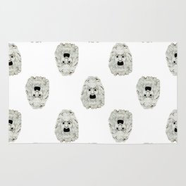 Angry Theater Mask Pattern Rug