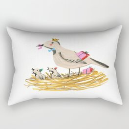 Mother bird feeding presents in the nest to baby Robin Rectangular Pillow