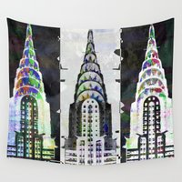 building Wall Tapestries featuring Chrysler building by Steve W Schwartz Art
