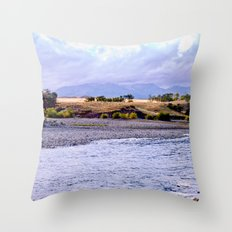 Camping on the Yellowstone River Throw Pillow