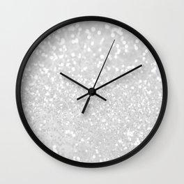 Chic elegant glamour White Faux Glitter  Wall Clock