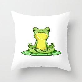 Frog on Sheet at Yoga with Yoga mat Throw Pillow