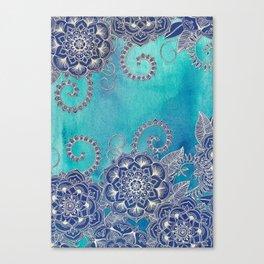 Mermaid's Garden - Navy & Teal Floral on Watercolor Canvas Print