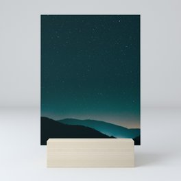 Minimalist Landscape Photography Night Sky Turquoise Teal Mountains Mini Art Print