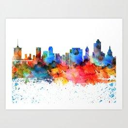Tulsa Colorful Drops Skyline Art Print