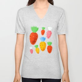 Carrots not only for bunnies - seamless pattern Unisex V-Neck