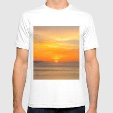 Sunset Coast with Orange Sun and Birds White MEDIUM Mens Fitted Tee