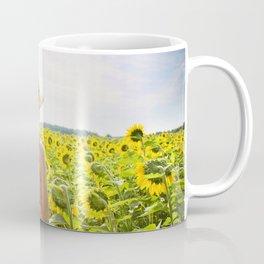 Woman in Sunflower Field Landscape Coffee Mug