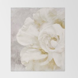 Petals Impasto Alabaster Throw Blanket