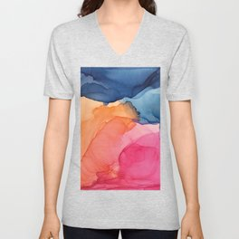 Tropical Bliss - Alcohol Ink Painting Unisex V-Neck