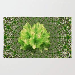 Lime Flowers & Green Irish Roses Optical Art Rug