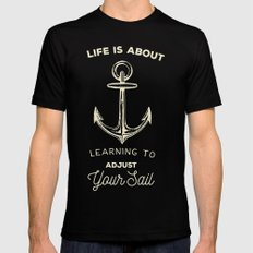 Learn to Adjust your Sail Black Mens Fitted Tee MEDIUM