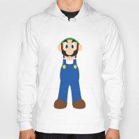 luigi Hoodies featuring Luigi - Minimalist - Nintendo by Adrian Mentus