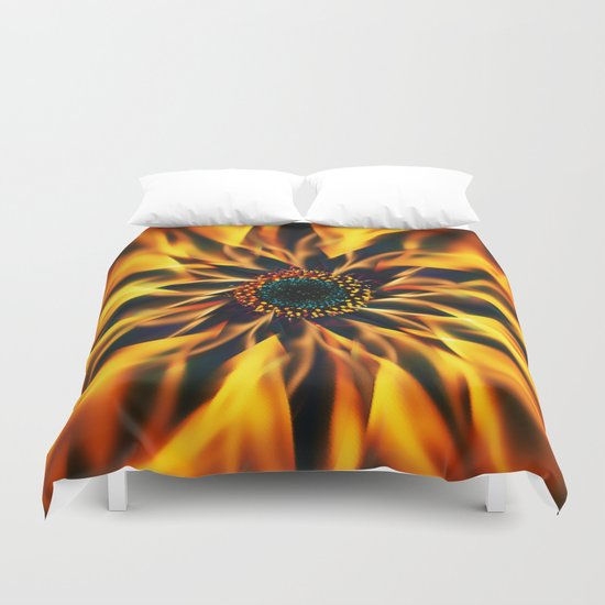 Flaming Love Flower Duvet Cover