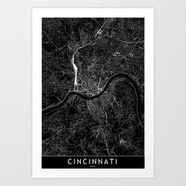 Cincinnati Black Map Art Print