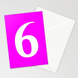 6 (WHITE & FUCHSIA NUMBERS) Stationery Cards